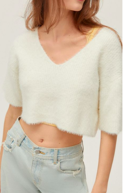 UO Janice Fuzzy Short Sleeve Cropped Sweater