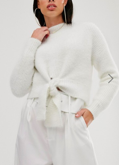 Parallel Lines fluffy soft touch sweater with tie front in white
