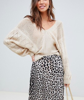 ASOS DESIGN stitch detail sweater with wide v neck