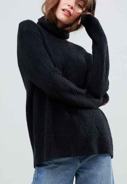 ASOS DESIGN stitch detail sweater with roll neck