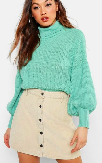 Boohoo Roll Neck Balloon Sleeve Knitted Sweater
