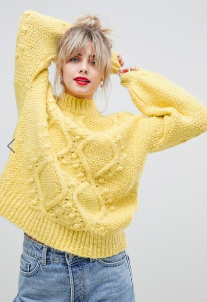ASOS DESIGN cable sweater with bobble stitch