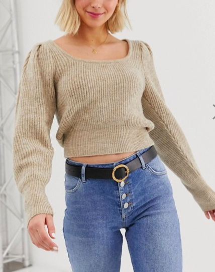 ASOS DESIGN chunky scoop neck sweater with full sleeve