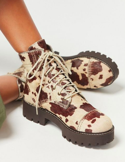 UO Juliette Calf Hair Treaded Lace-Up Boot