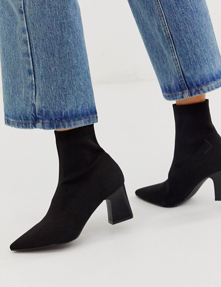 RAID Eva black knitted sock boot with stacked heel