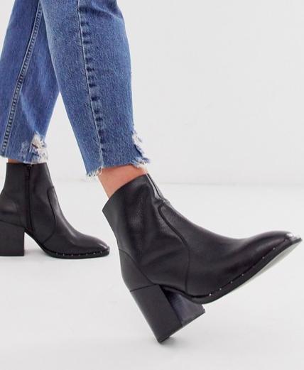 ASOS DESIGN Restore leather studded block heel boots in black