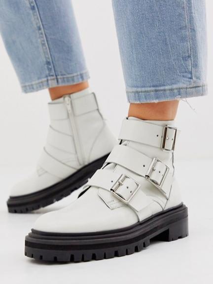 ASOS DESIGN Aviate premium leather biker boots in white