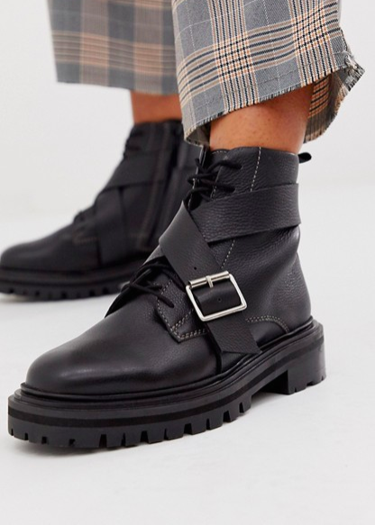 ASOS DESIGN Agility premium leather chunky lace up boots in black
