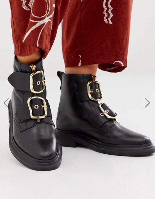 ASOS DESIGN Attribute premium leather hardware boots in black