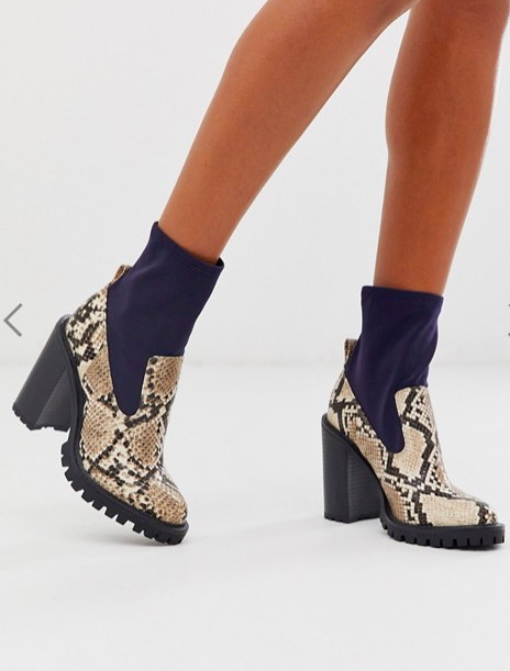 ASOS DESIGN Evolve chunky sock boots in snake mix