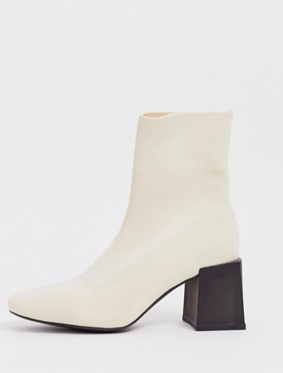 ASOS DESIGN Reality flyknit ankle boots in natural