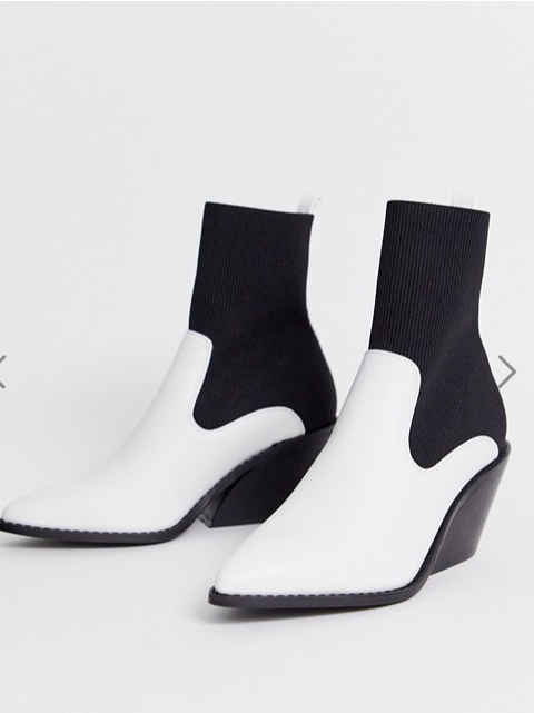 ASOS DESIGN Rekindle western sock boots in white