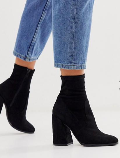 ASOS DESIGN Ellan heeled sock boots in black