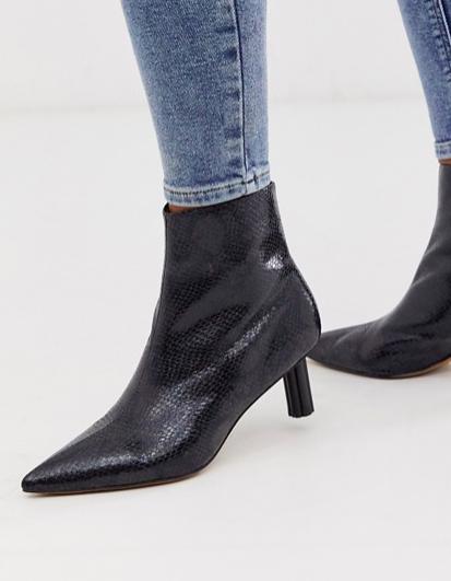 ASOS DESIGN Rapids kitten heel boots in black snake