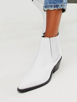 ASOS DESIGN Adelaide leather western chelsea boots in white