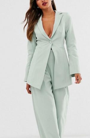 ASOS EDITION cutaway blazer & wide leg pants suit in sage