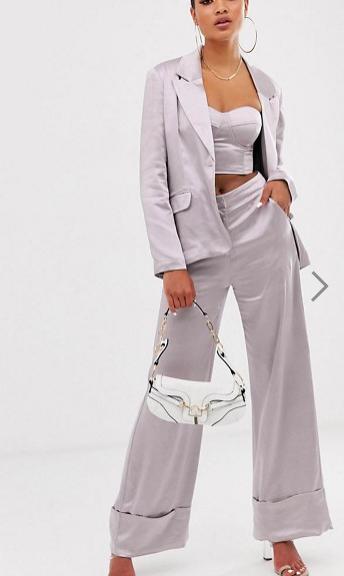 Unique21 satin blazer & high waist wide leg pants two-piece