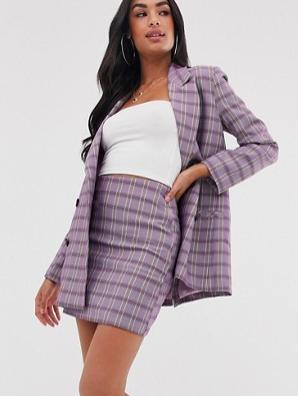 ASOS DESIGN suit in purple check
