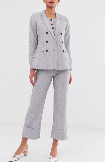 Fashion Union double breasted blazer & high waisted pants two-piecE