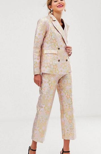 Dusty Daze jacquard blazer & straight leg pants two-piece