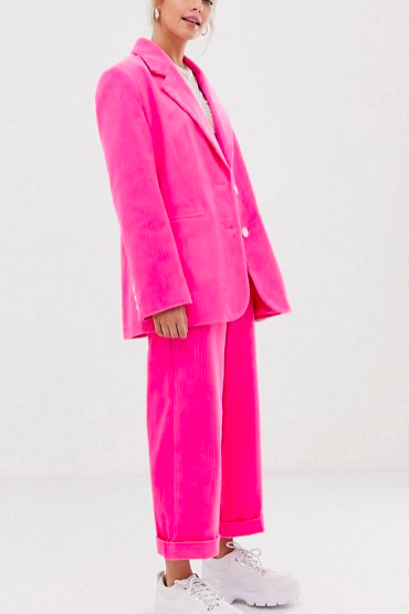 COLLUSION jumbo cord suit in pink
