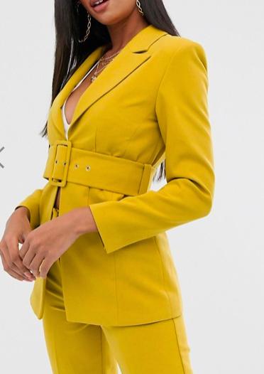 Club L London longline blazer with belt detail in yellow