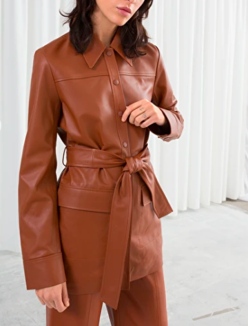 Stories Belted Workwear Leather Jacket