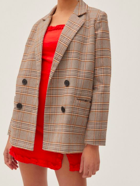 UO Plaid Double-Breasted Blazer
