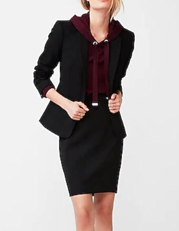 Express Black Seamed Pencil Skirt Suit