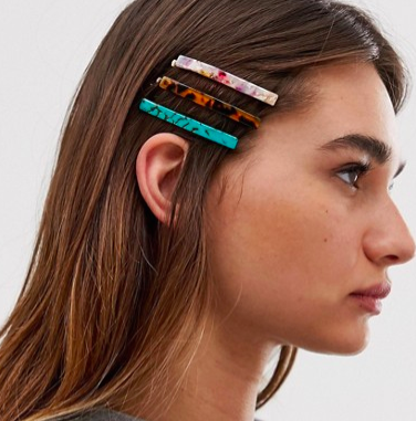 ASOS DESIGN pack of 5 hair clips in long rectangle shape in mixed resins