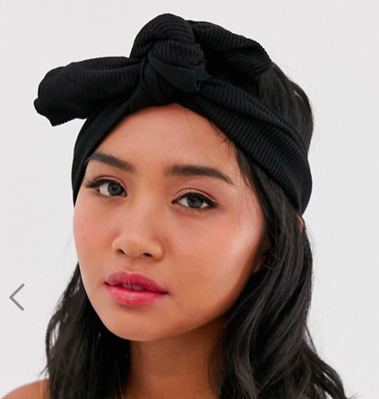 ASOS DESIGN headband with oversized stitched knot detail in crinkle