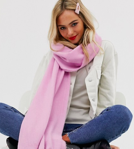 ASOS DESIGN plain lightweight winter pastel long scarf with raw edge in pink