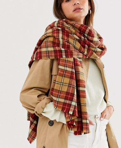 ASOS DESIGN long multi check scarf