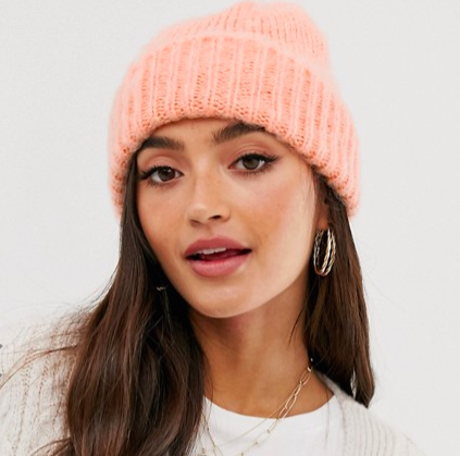 ASOS DESIGN fluffy brushed knitted beanie