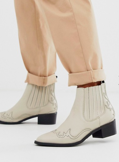 Selected Femme cream cowboy boots