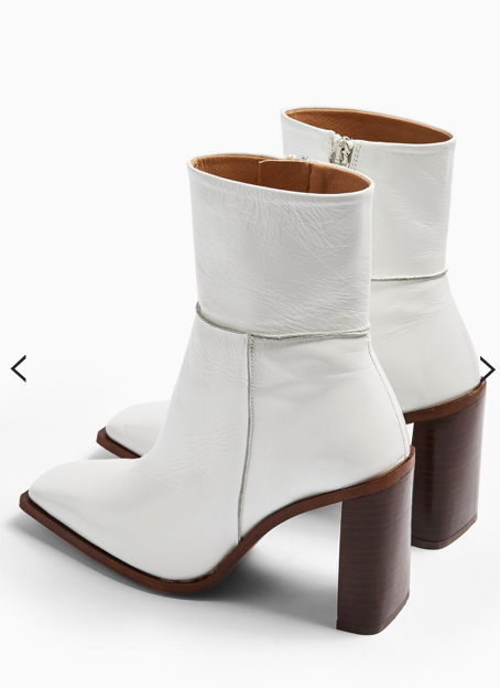Topshop HERO Leather White Boots