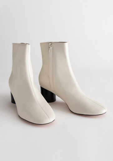 Stories Leather Round Toe Ankle Boots