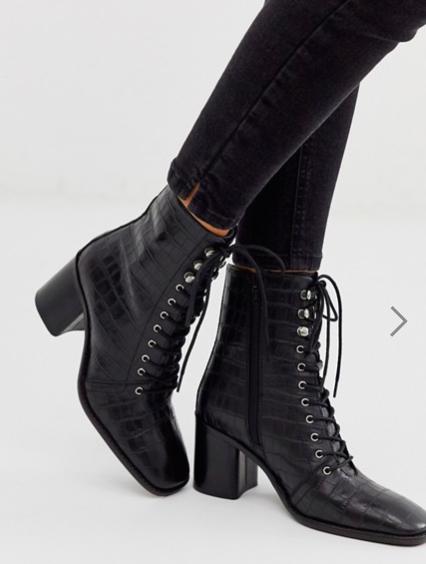 ASOS DESIGN Rivet leather square toe lace up boots in black croc