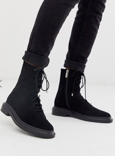 ASOS DESIGN Aniseed premium suede lace up boots in black