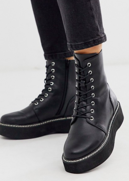 ASOS DESIGN Alva chunky lace up boots in black