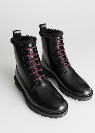 Stories Lace Up Leather Snow Boots