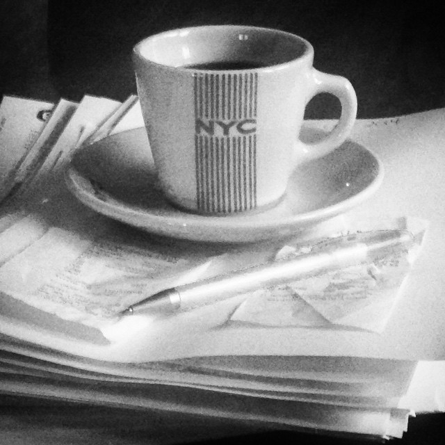 Coffee and invoices.