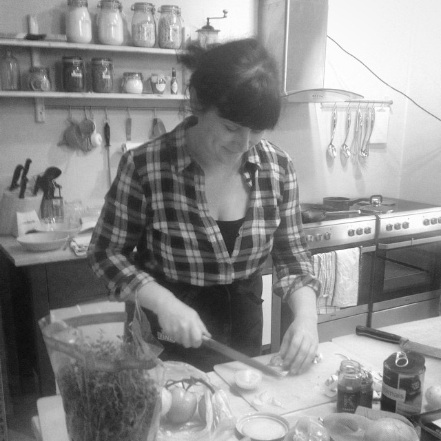 Oda from Tine working in the kitchen.
