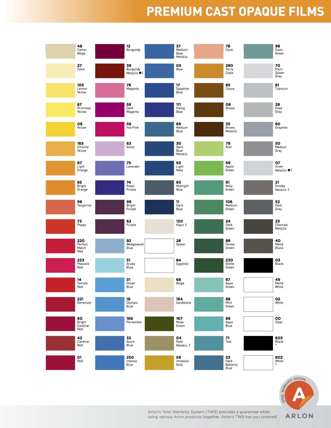 Series 2100/2200 Color Chart