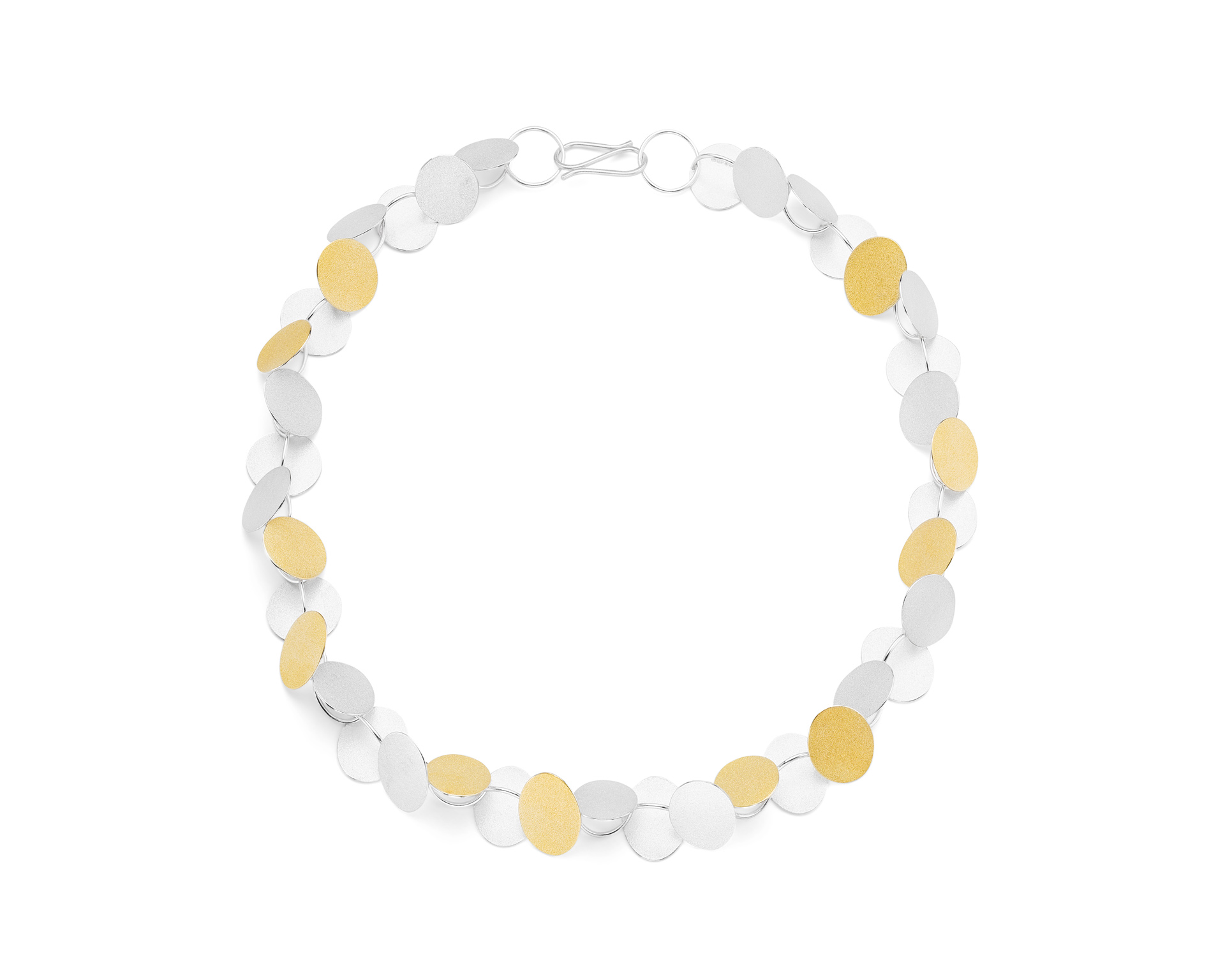 Heather Woof Jewellery.  Rhythm necklace in silver and fine gold bi-metal.