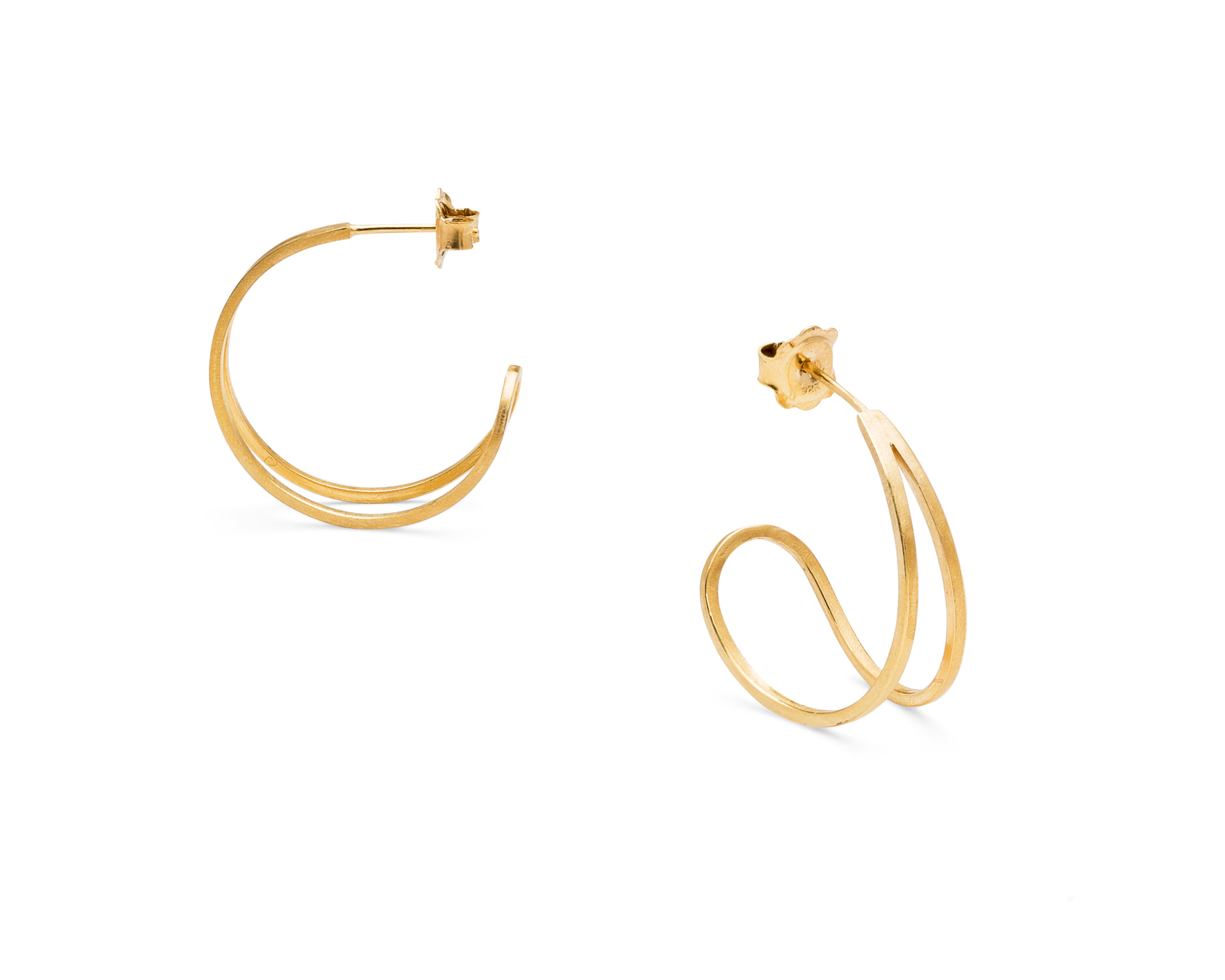 Heather Woof Jewellery. Teardrop hoop earrings in gold vermeil.