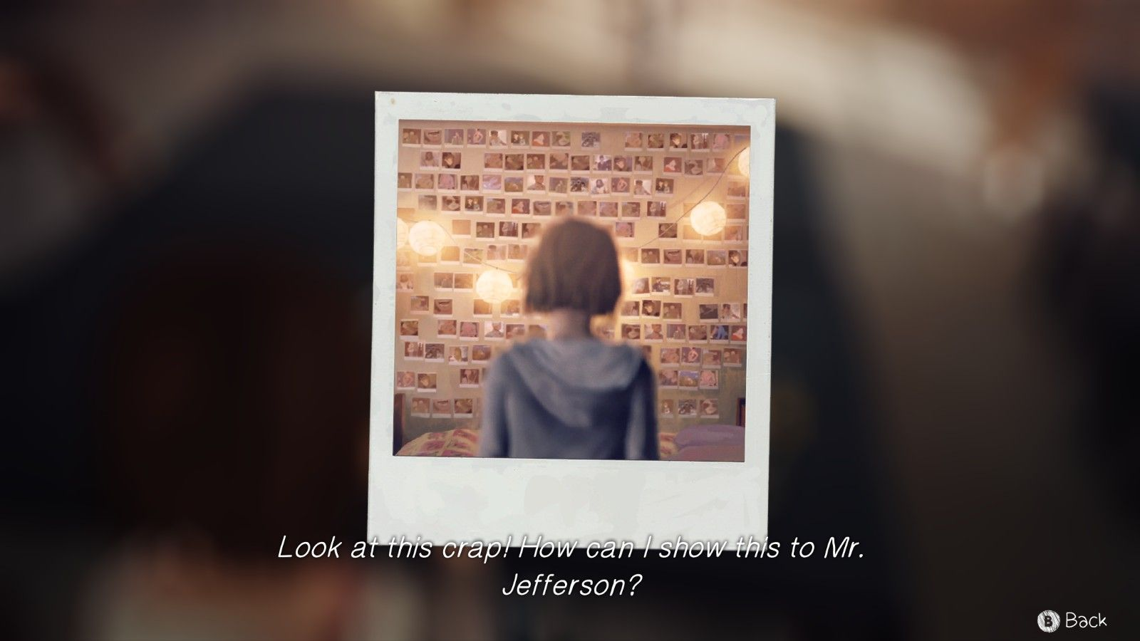 """A screencap showing a selfie of Max, with the text """"Look at this crap! How can I show this to Mr. Jefferson?"""""""