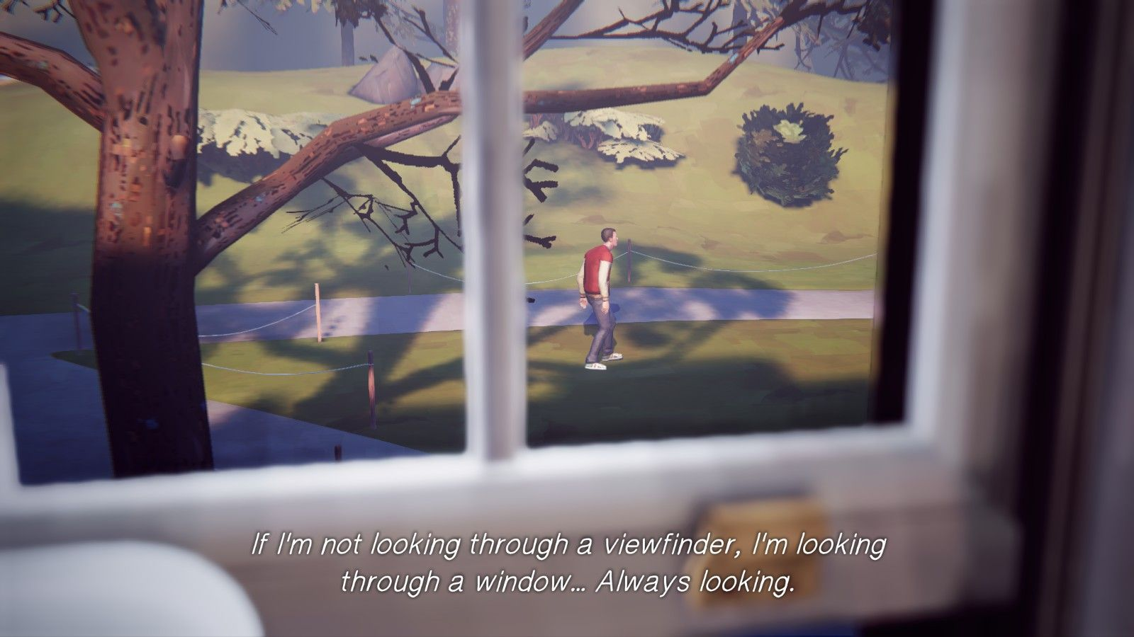"""A screencap of Max's view through a window, with the text: """"If I'm not looking through a viewfinder, I'm looking through a window... Always looking."""""""