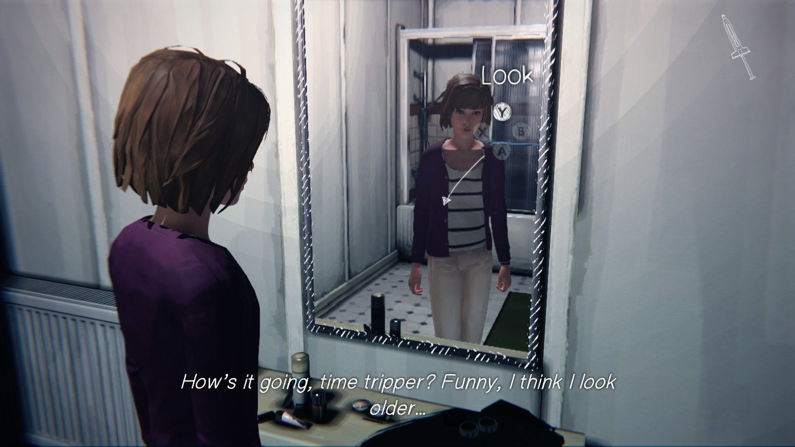 """A screencap of Max looking into a mirror, with the text: """"How's it going, time tripper? Funny, I think I look older..."""""""