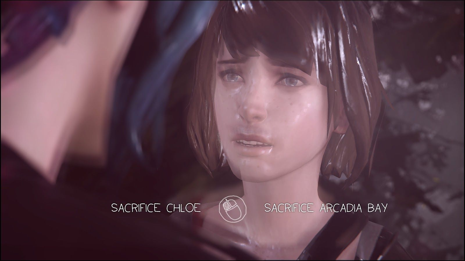 """A screencap of Max and Chloe during the final choice of the game, with the text: """"Sacrifice Chloe [or] Sacrifice Arcadia Bay."""""""